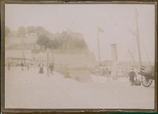 France, Bateau à quai près des remparts, ca.1900, Vintage citrate print Vintage