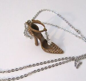 Fashion Necklace-High Heel Shoe Pendant- Brown- Gold crystals-silver chain