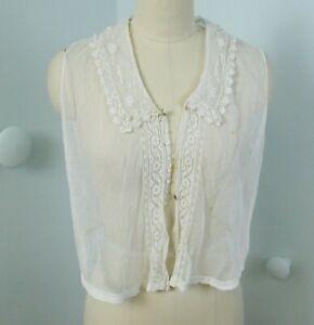 Vintage Edwardian 20s Ivory Antique Edwardian Sheer Net Lace Under Blouse M