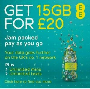 EE Sim Card Pay As You Go £20 Pack 15GB Data Unlimited Calls & SMS Trio Sim