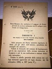 REGIO DECRETO COST CASTELPIZZUTO,SEP DA LONGANO, COLLEGIO ELETTORALE CAMPOBASSO