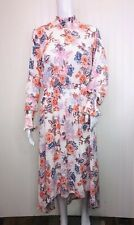 NANETTE Nanette Lepore Dress 8 Smocked Neck Hi Low Floral Long Sleeve