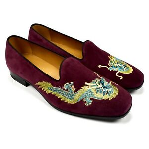 NWT $980 GUCCI Mens Wine Red Suede Dragon Embroidered Loafers Slippers AUTHENTIC