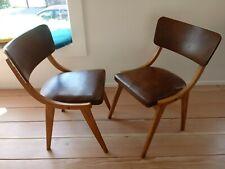1 von 2 50er 60er Jahre Stuhl mid century danish Design Holz Leder