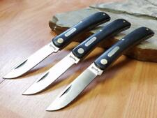 Lot of 3 Imperial Schrade Brown Sodbuster Folding Pocket Knife Handle  22-3