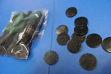 plastic counters - 100 black plastic counters - 25mm dia - FREE POSTAGE