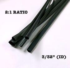 """4 FEET BLACK 3/32"""" 2.5mm Polyolefin 2:1 Ratio Heat Shrink Tubing M23053/5 CL3 UL"""
