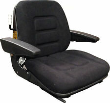 FABRIC SEAT WITH ARMRESTS & SLIDE RAILS - FORKLIFT TRACTOR DIGGER DUMPER JCB ETC