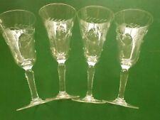 VINTAGE JAVIT CRYSTAL WHEAT CORDIAL GLASSES STEMWARE Set of 4  (SP)