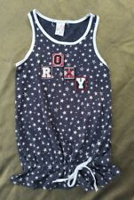 New Roxy Girls Star Print Drawstring Vest Top-Navy /white washed look-Age 10yrs