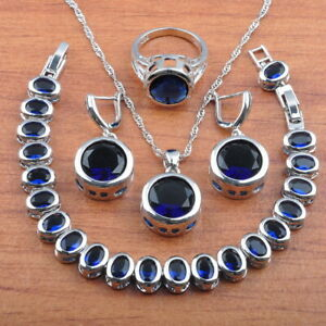925 sterling silver jewelry sets blue sapphire wedding birthday gift