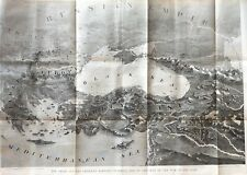 1877 newspaper HUGE FOLD OUT MAP CONSTANTINOPLE Europe & TURKEY Ottoman Empire