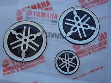 YAMAHA Tank Emblem Badge Gel Decal Sticker SILVER 25MM + 45MM R1 R6 R7 XJR YZF