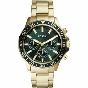 MEN'S FOSSIL GREEN AND GOLD 'BANNON' CLASSICAL WATCH  BQ2493
