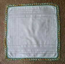 Vintage Ladies White Handkerchief with Green, Orange/Yellow Crochet Trim