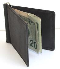 MEN'S SOLID GENUINE LEATHER SPRING MONEY CLIP Front Pocket Bifold Wallet