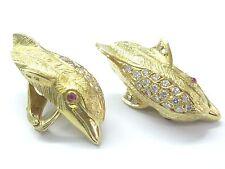 18Kt MARAMENOS PATERAS Gem Ruby Diamond Dolphin Yellow Gold Earrings 2.42Ct