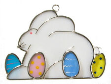 Bunny with Easter Eggs Glass Suncatcher
