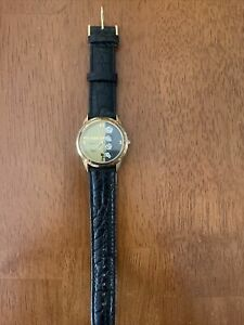 Vintage Snoopy Peanuts Armitron Watch With Case - Black Leather Strap