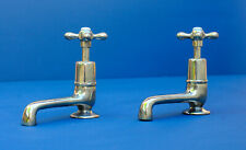 SHANKS nickel basin taps - long reach - genuine antique faucets - made in UK