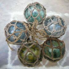 5 VTG NETTED JAPANESE GLASS FLOAT BALL BUOY LARGE PONTIL NAUTICAL DECOR