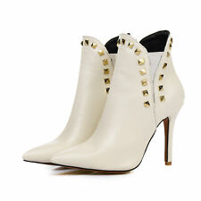 Sexy Womens Rivets Ankle Boots Stilettos High Heels Pointy Toe Party Shoes 44-47