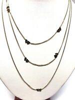 Collier en or 18 carats 750/1000 , 3 rangs , motif coeur bicolore