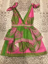 Dolce And Gabbana Silk Handkerchief Dress Tiered Size 40 Green And Pink