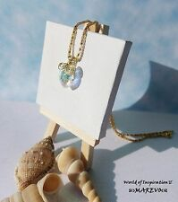 """Crystal Heart Pendant Maid With Swarovski Crystal 18"""" Gold Plated Chain Necklace"""