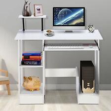 More details for wooden computer desk laptop pc table shelveswhite small corner workstation