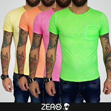 T-SHIRT uomo maglia maglietta cotone fluo slim tasca fluorescente made italy