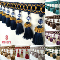 Curtain Tassel Fringe Trim Beads Ball Sewing Ribbon Lengthened Thickened 1M
