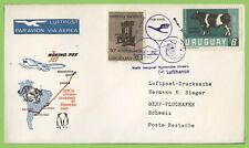 Uruguay 1966 Lufthansa flight cover, Montevideo - Geneva Switzerland