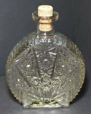 Vintage Heavy Decorative Glass Bottle Liquor Decanter Fan Design w/ Cork Stopper