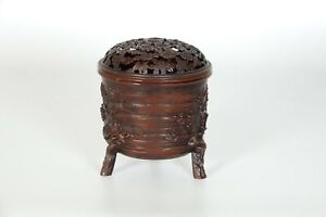 Japanese Cast Tripod Censer Koro In Tree Form Signed Seizan