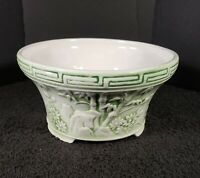 Vintage Made In Japan Green Floral Bamboo Ceramic Planter