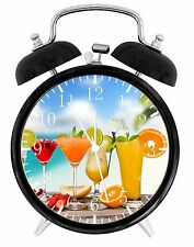 "Friut Drinks Alarm Desk Clock 3.75"" Home or Office Decor E33 Nice For Gift"
