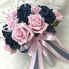 BRIDES POSY BOUQUET, NAVY BLUE & BABY PINK ROSES,  ARTIFICIAL WEDDING FLOWERS