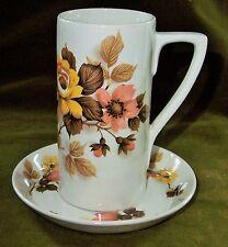 Vintage PORTMEIRION Tall Floral Autumnal Mug c1960 Cup & Saucer