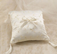 Elegant Satin Ring Pillow Ivory - Wedding Ring Cushion with Ivory tassels