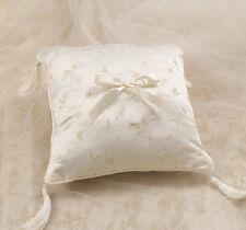 Elegant satin anneau oreiller ivoire de bague de mariage coussin avec ivoire pompons