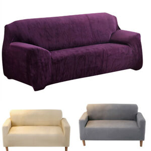 Sofa Cover Easy Fit Stretch Protector Soft Couch Cover Thicken Plush Velvet