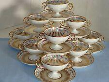 10 Charles Ahrenfeldt Limoges Tea Boullion Cups Heavy Gold And Roses