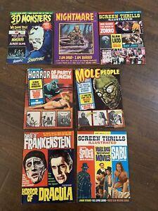 7x Horror Monster Magazines Nightmare Mole People 3-d Monsters Frankenstein