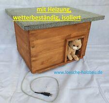 Katzenhaus mit Heizung Lasur Kastanie wetterfest isoliert Katzenhütte beheizt