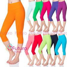 Womens 3/4 Leggings Casual Sport Wear High Waist Cotton Cropped Pants LWP34