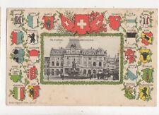 St Gallen Boersenplatz Switzerland Vintage Embossed U/B Chromo Postcard 254b