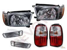 1996-1998 Toyota 4Runner Black Headlights Corner Bumper & Red LED Tail Lights