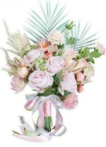 Loyome Wedding Bridal Holding Bouquet, Artificial Pink Rose, bridesmaid, New