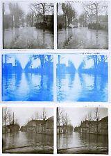 3 photos stereos  1924 INONDATION LA PIE / stereoview